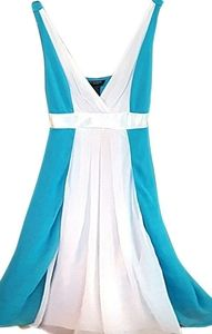 Turquoise and White Chiffon Ribbon Cocktail Dress